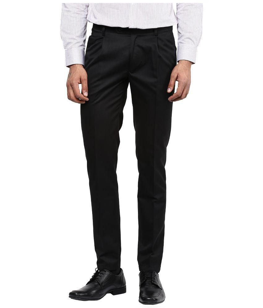 BUKKL Black Regular Flat Trouser