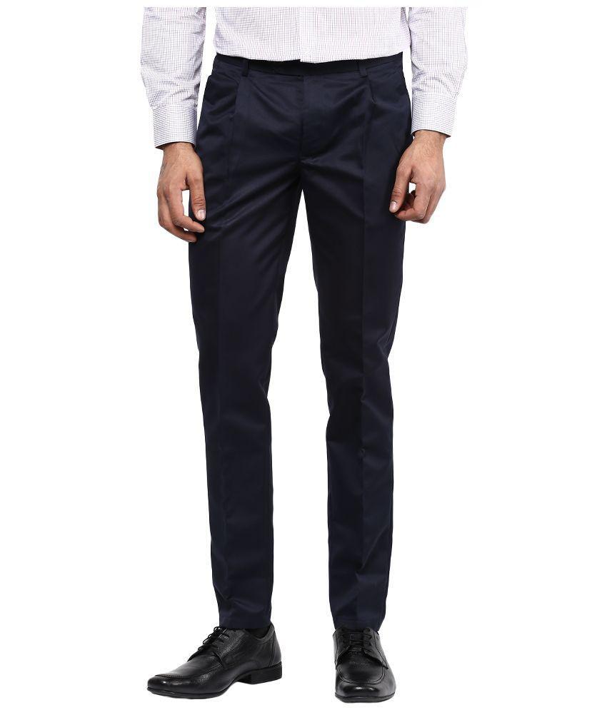 Bukkl Navy Regular Fit Flat Trousers