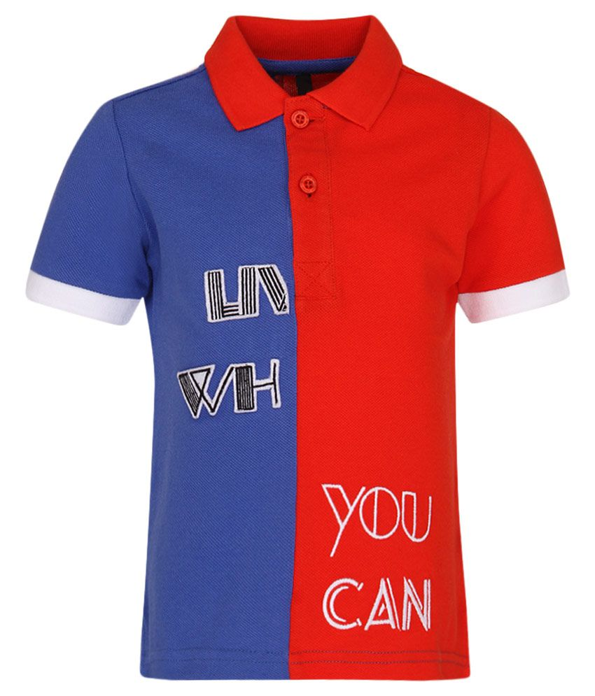 United Colors of Benetton Blue Half Sleeves Polo T Shirts