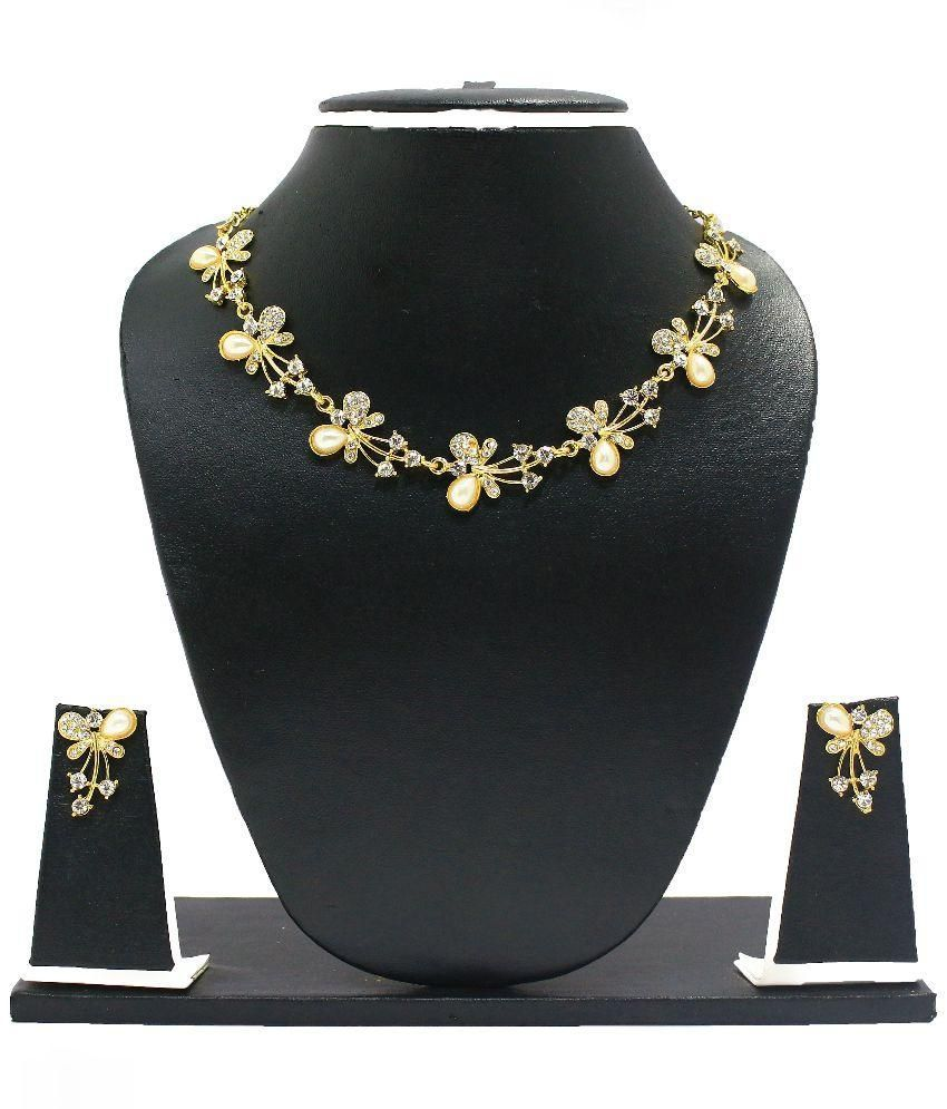 Zaveri Pearls Zinc Gold Plating American diamonds Studded Gold Coloured Necklaces Set