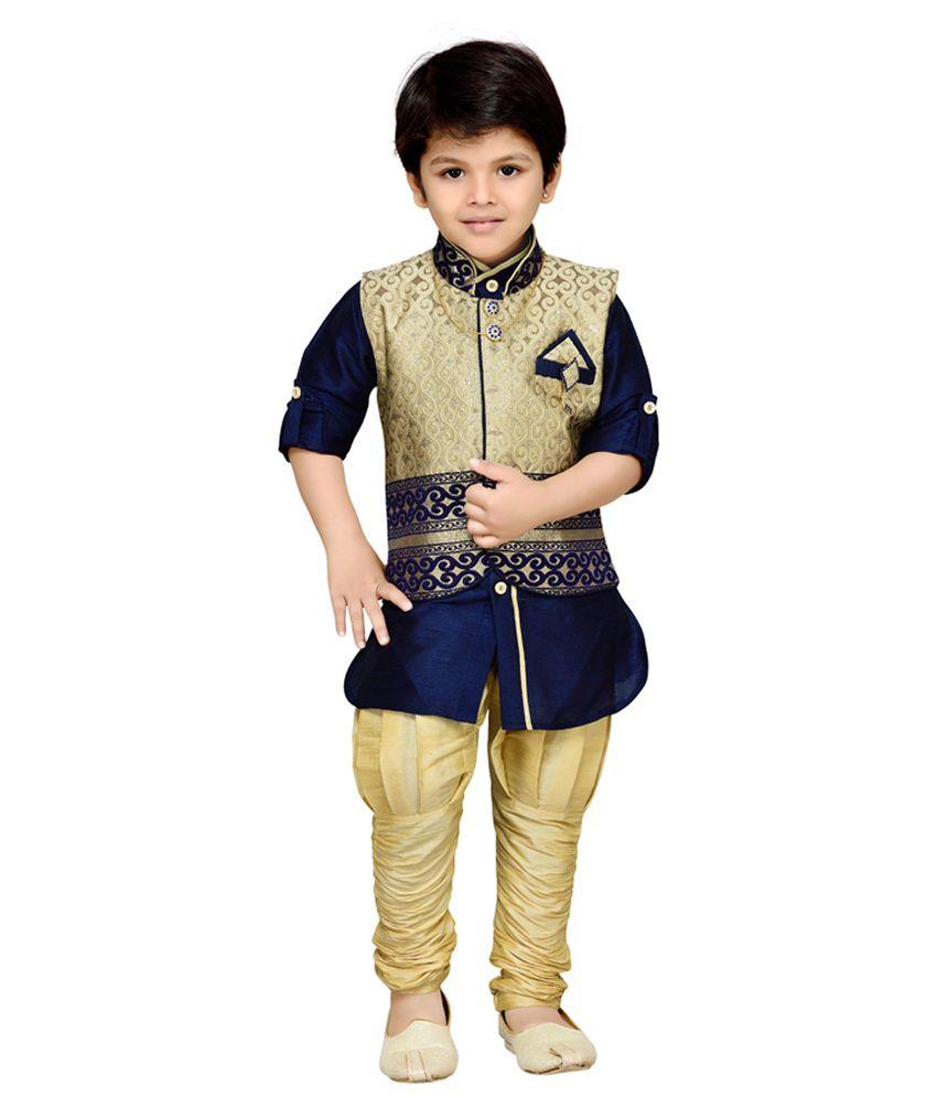 AJ Dezines Navy Blue Kids Kurta, Waistcoat and Breeches Set