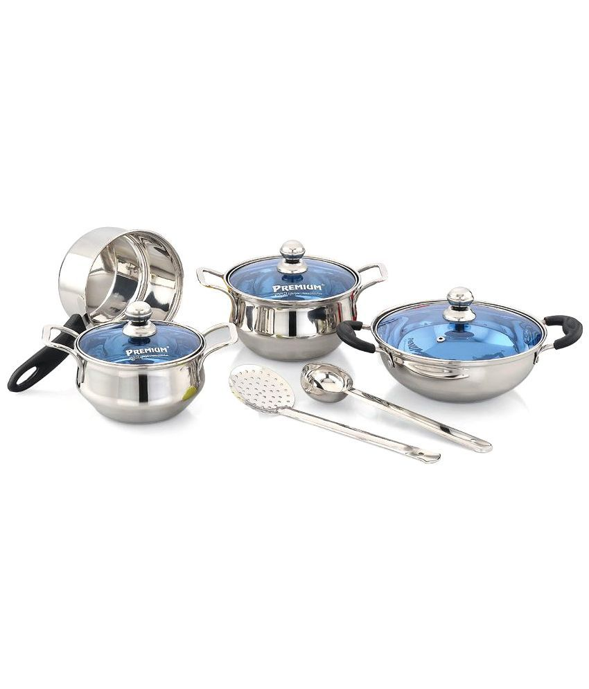 Premium Silver Stainless Steel Cookware Set   9 Pcs