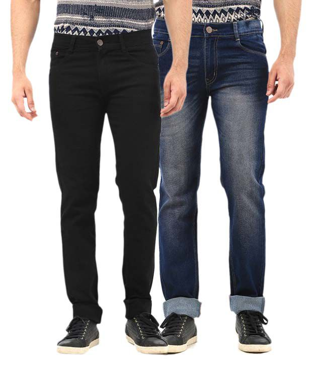 AVE Multi Regular Fit Faded Jeans Combo of Blue and Black Jeans