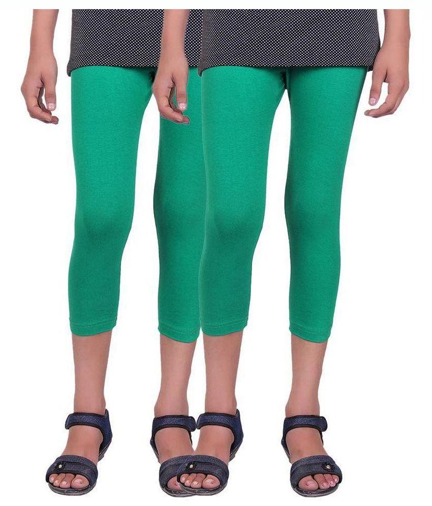 Alisha Green Cotton Kids Capri - Pack of 2