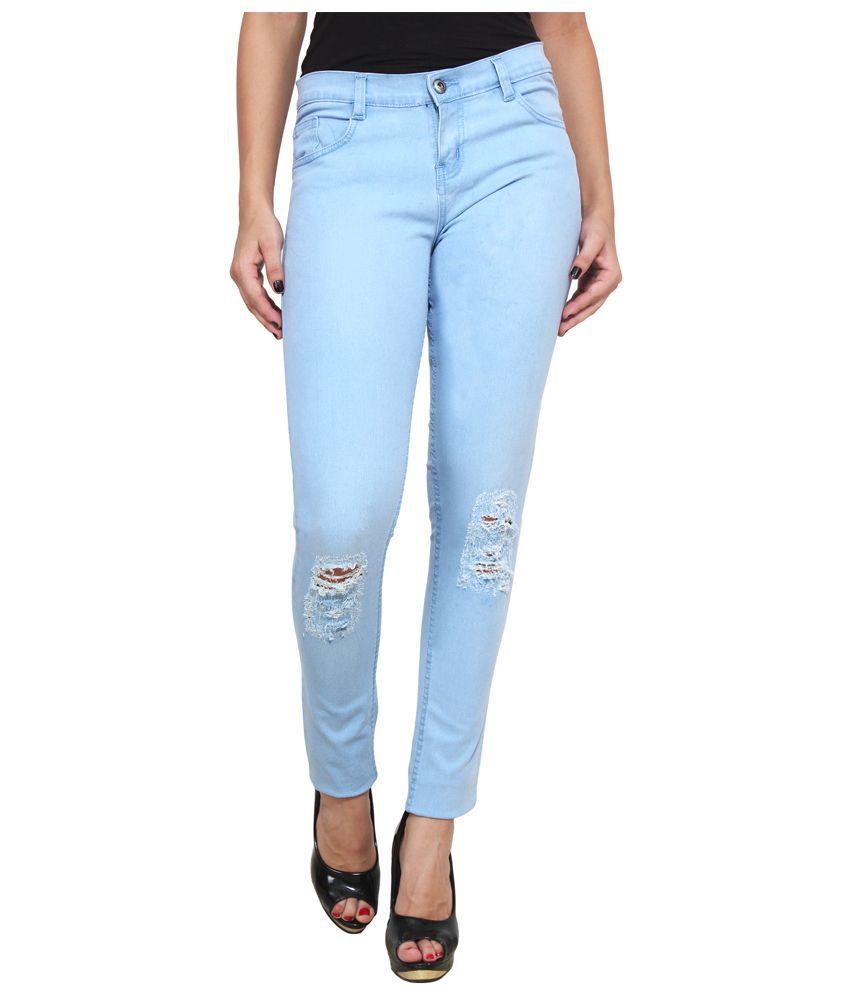 Ansh Fashion Wear Blue Cotton Lycra Jeans