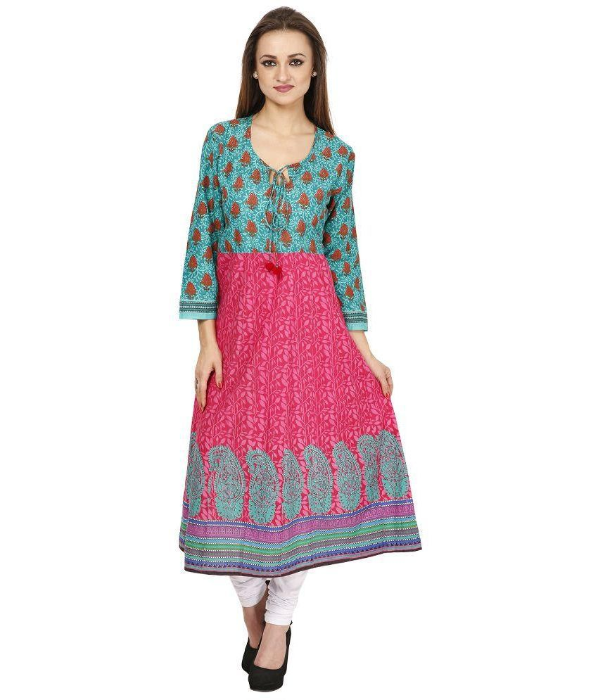 Famous By Payal Kapoor Pink Cotton A-line Kurti