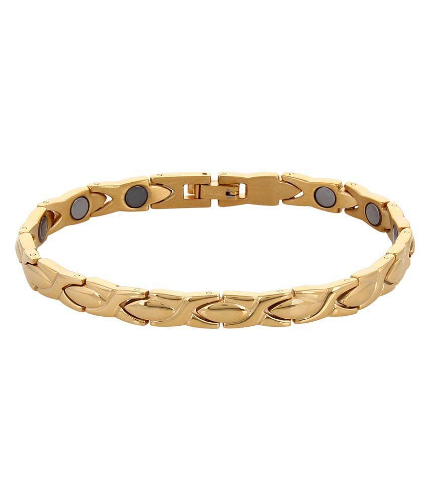 Amazheal Stainless Steel Studded Gold Coloured Bracelet