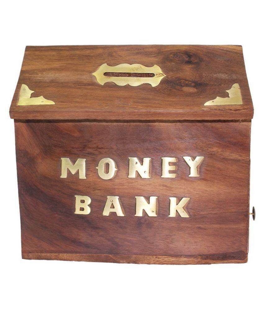 Antiqua V Group Brown Wooden Money Box