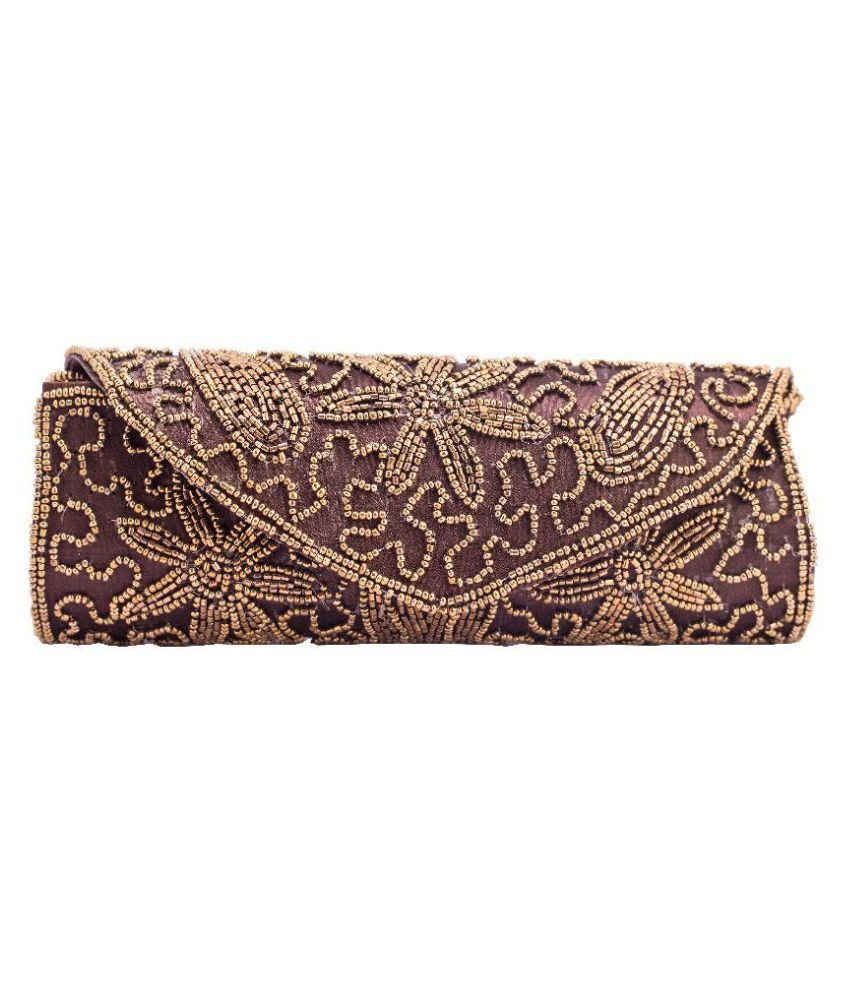 Kleio Brown Faux Leather Clutch