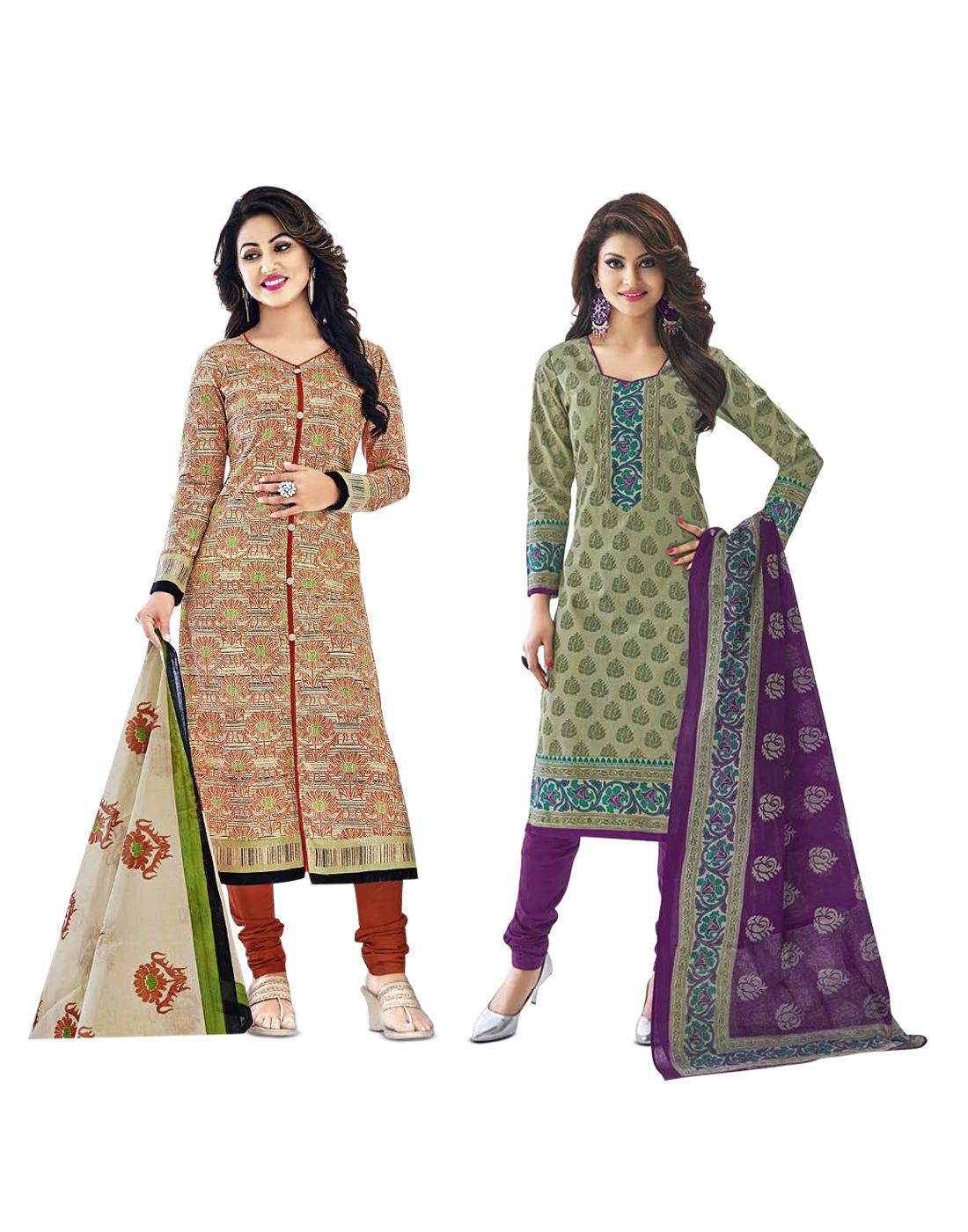 Mega Cotton Multicoloured Cotton Straight Unstitched Dress Material