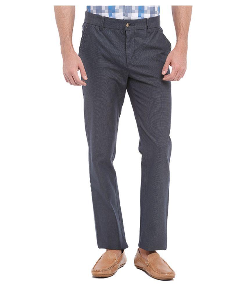 Parx Blue Slim Fit Flat Trousers