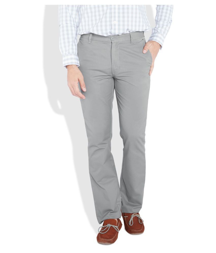 Parx Grey Slim Fit Flat Trousers