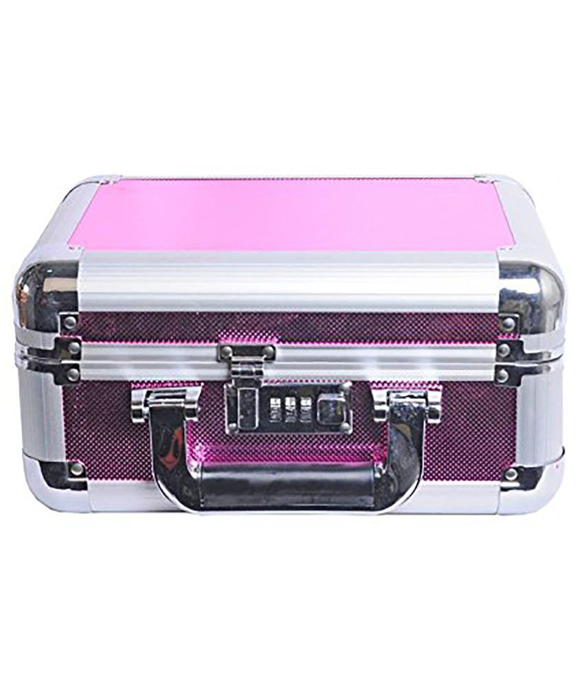 Phoenix International Alloy Silver Plating Polki Studded Pink Coloured Jewellery Box