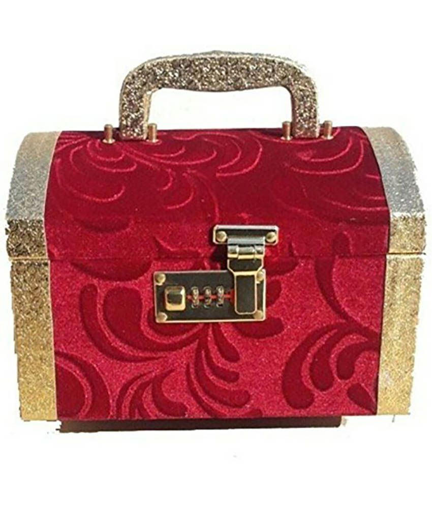 Phoenix International Wood Gold Plating Polki Studded Red Coloured Jewellery Box