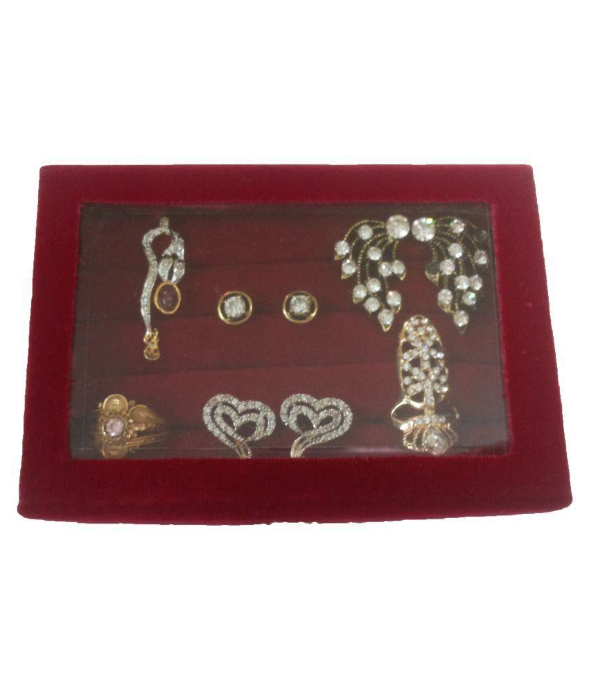 Abhilasha's Store Fabric Studded Maroon Coloured Jewellery Box
