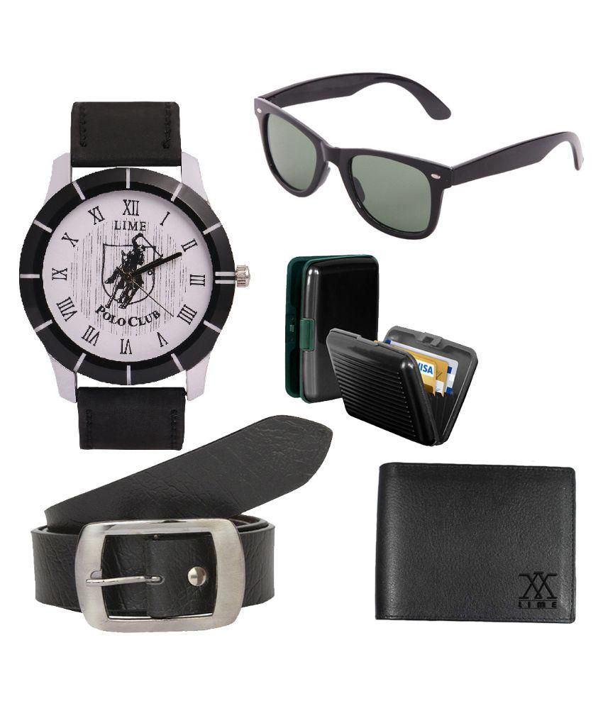 Lime Combo of Black Leather Belt with Watch, Sunglasses, Card Holder, Wallet for Men