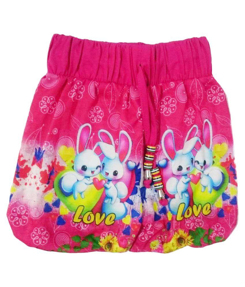 Pink&white Multicolour Cotton Short