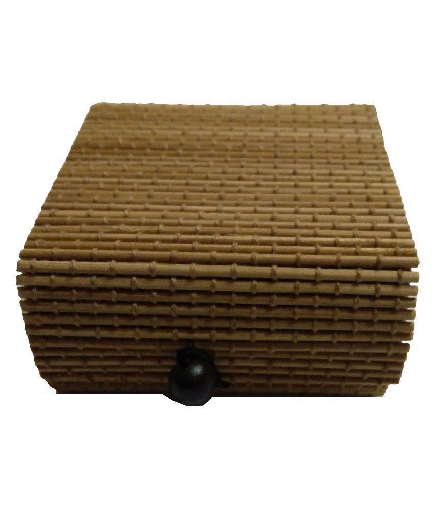 Abhilasha's Store Beige Fabric Jewellery Box