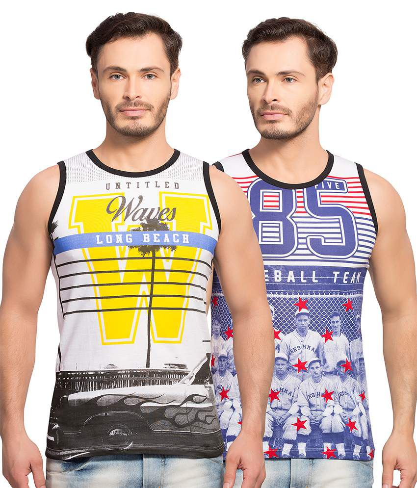 Maniac Multi Round T Shirt Set of 2