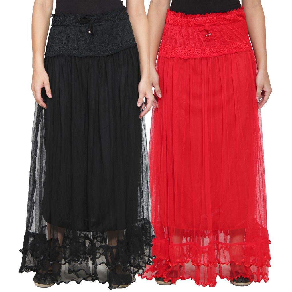 numbrave multi color net maxi skirt snapdeal price skirt