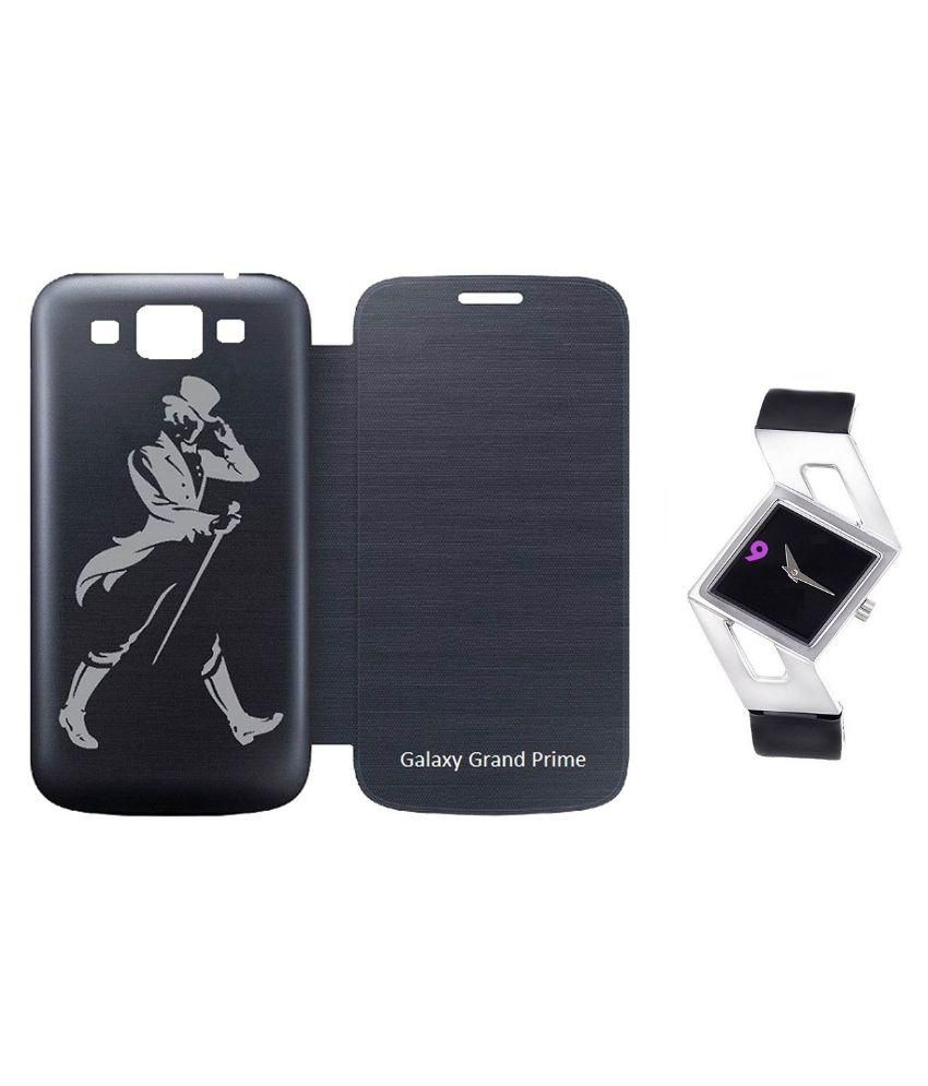 Printed Villa Flip Cover For Samsung Galaxy Grand Prime With Women Watch