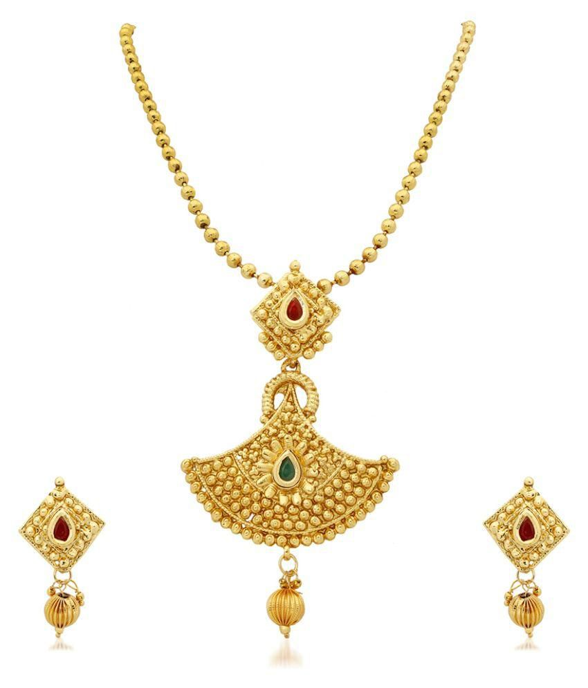 RG Fashions Jewellery Zinc Gold Plating Stones Studded Gold Coloured Necklaces Set