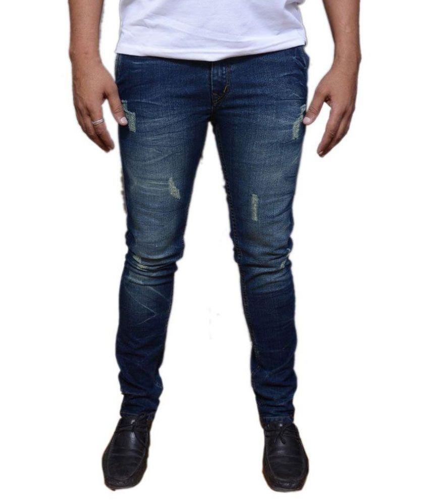 Royal Zone Jeans Blue Slim Fit Faded Jeans