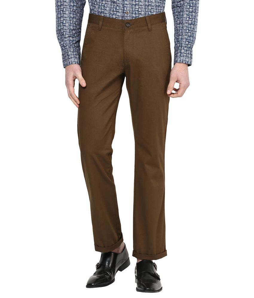 Byford By Pantaloons Brown Regular Fit Trousers