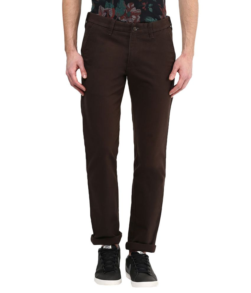 Byford By Pantaloons Brown Slim Fit Trousers