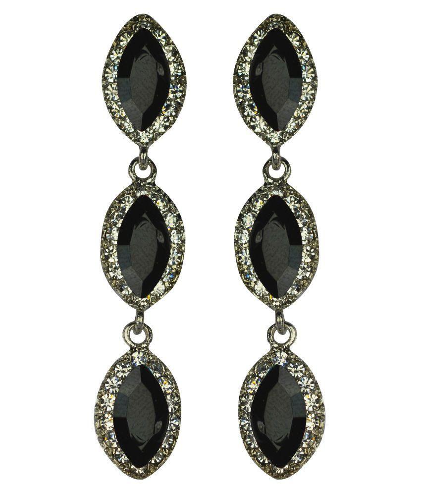 Glitters Online Alloy American diamonds Studded Black Coloured Earrings