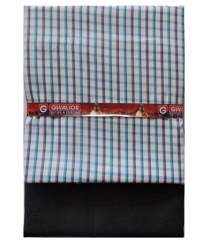Gwalior Suiting And Shirting Blue Poly Blend Unstitched Shirts & Trousers Pack of 2
