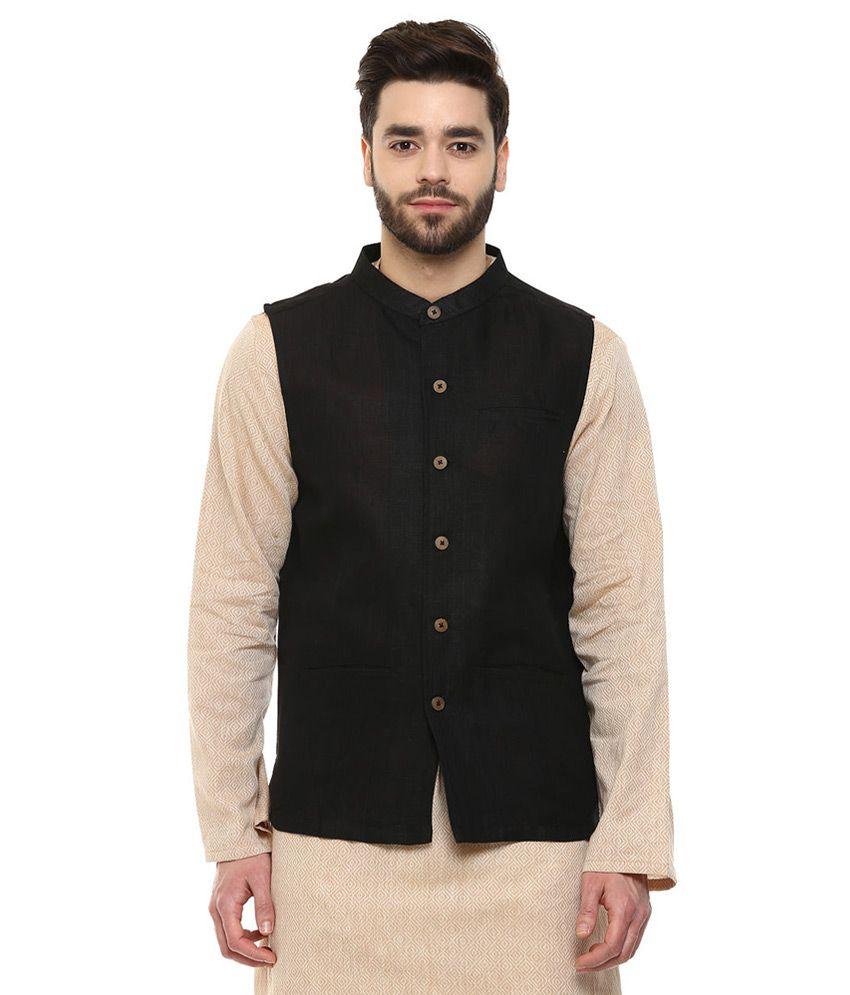 Indus Route By Pantaloons Black Waistcoat