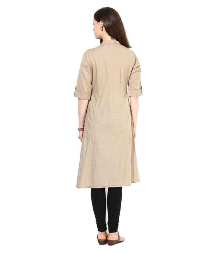Shirt design kurti -  Pakiza Design Beige Cotton Shirt Style Kurti