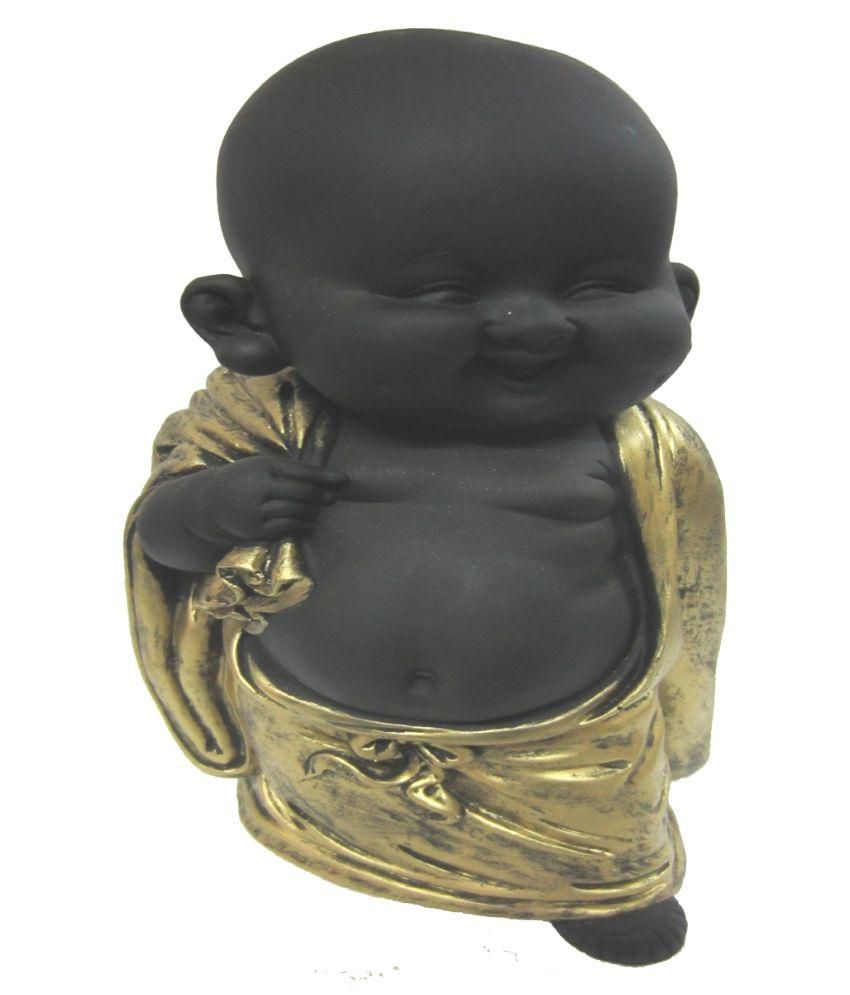 Earth Black Polyresin Laughing Buddha Statue