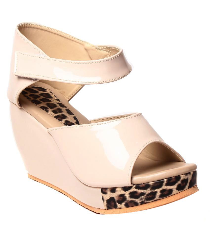 Ladies Comfort Beige Wedges Heels