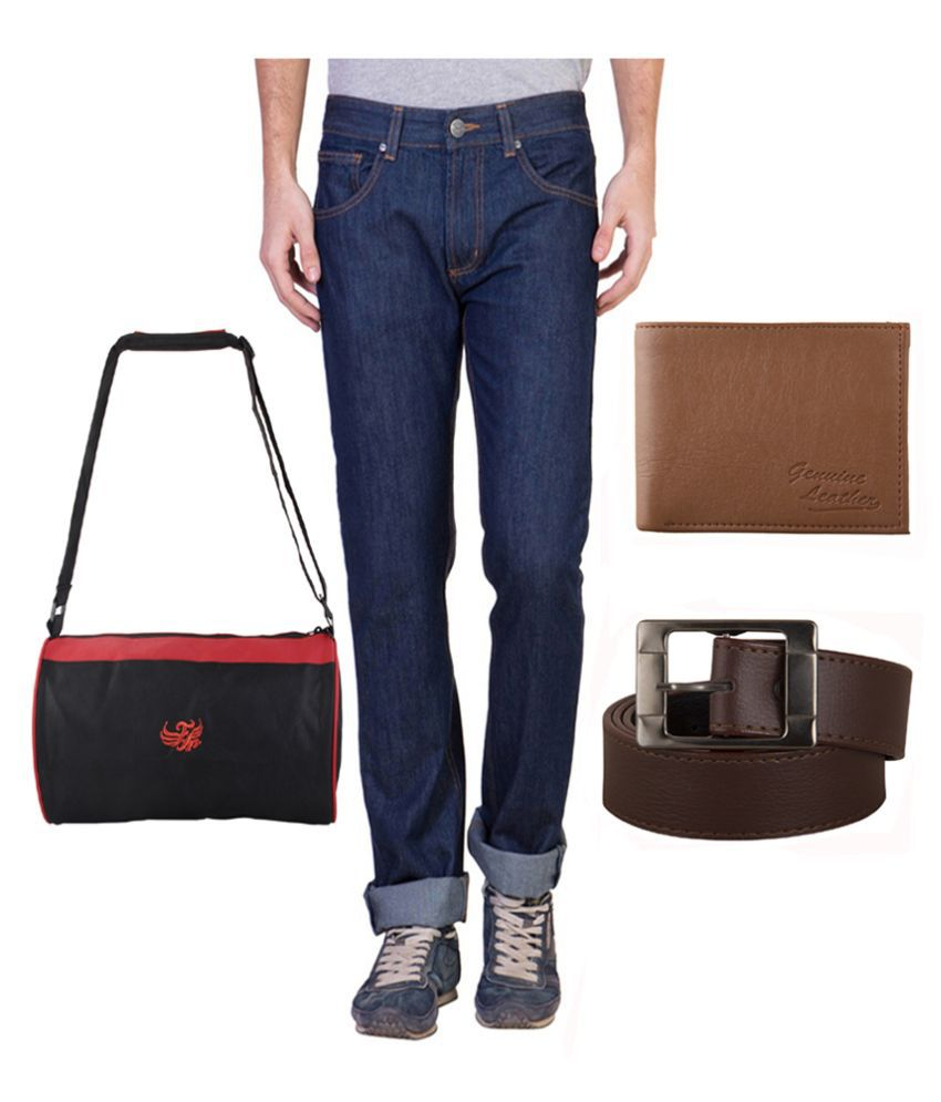 Ruf & Tuf Blue Slim Fit Washed Jeans Pack of 2