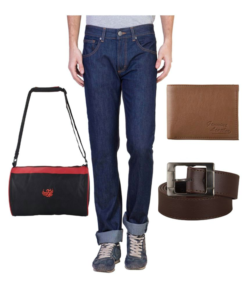 Ruf & Tuf Blue Slim Fit Washed Jeans with Belt, Wallet and Gym Bag