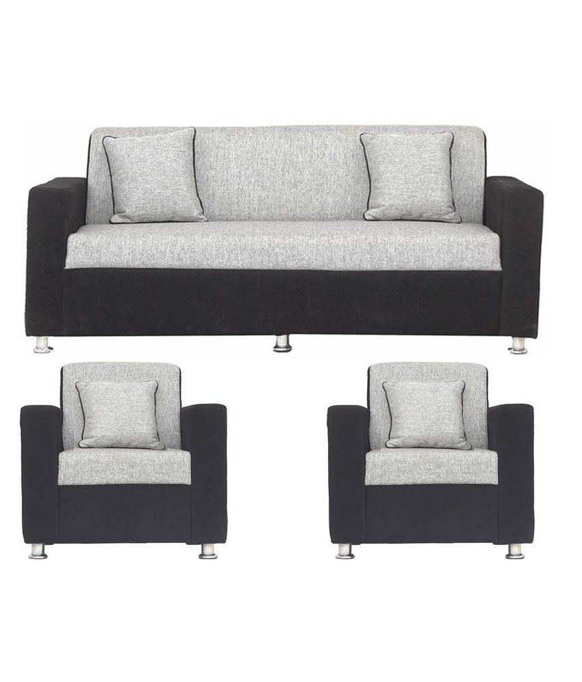 Bls Tulip Black Grey 3 1 1 Sofa Set Buy Online At Best