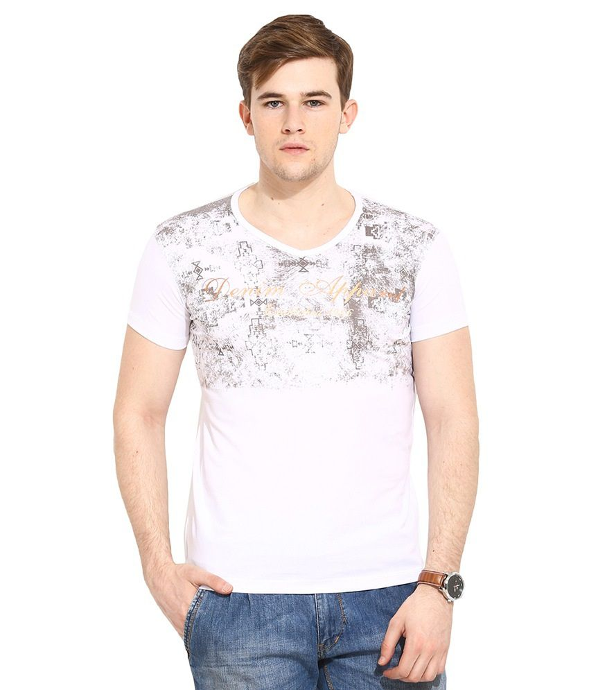Duke White V-Neck T Shirt