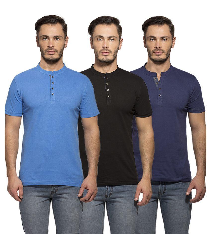 Maniac Multi Henley T Shirt Pack of 3