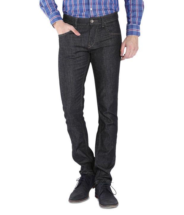 Parx Black Slim Fit Solid Jeans