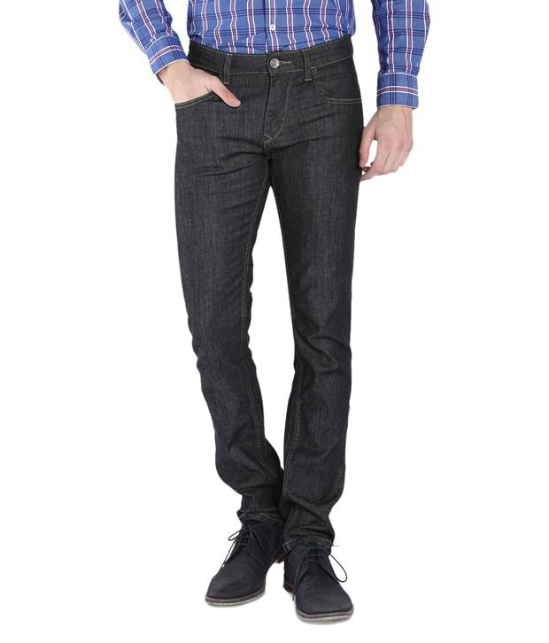 Parx Black Slim Fit Solid Jeans