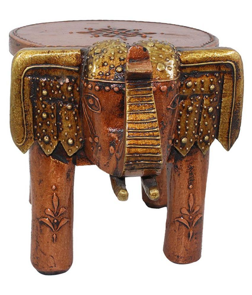 Terrific Vivancreation Brown Wooden Elephant Stool Handicraft Onthecornerstone Fun Painted Chair Ideas Images Onthecornerstoneorg