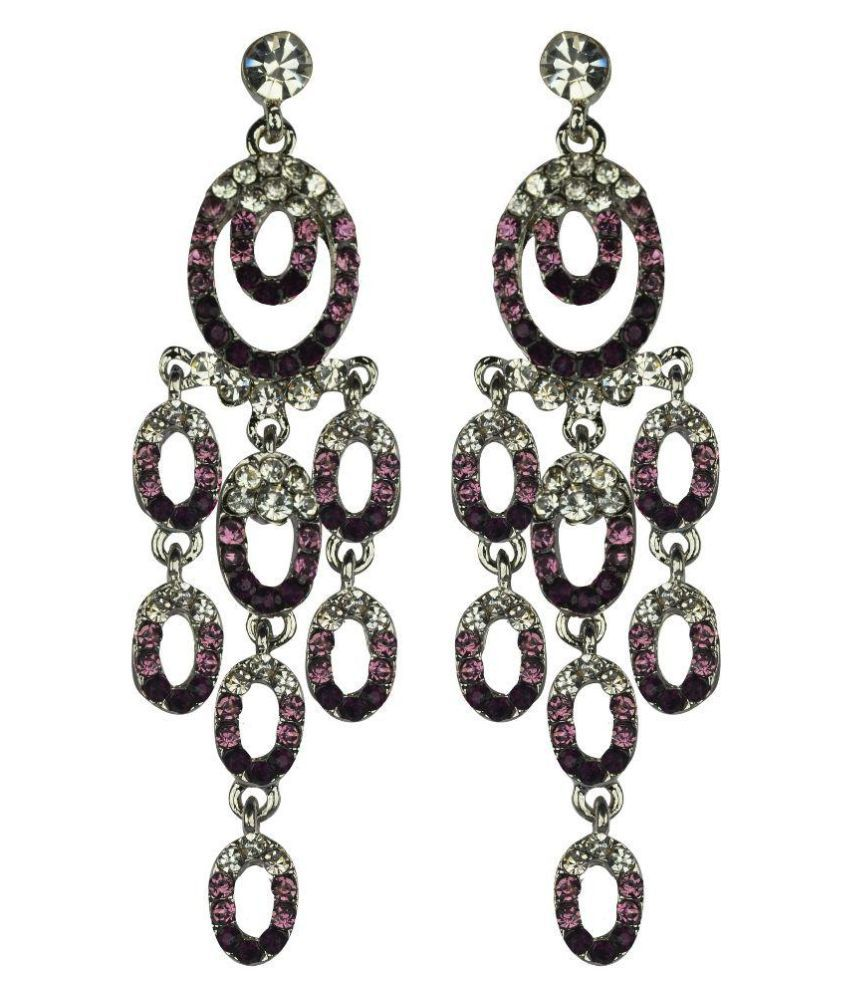 Glitters Online Alloy American diamonds Studded Purple Coloured Earrings
