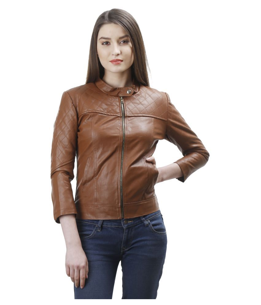 Launcher Brown Pu Leather Zippered Jackets