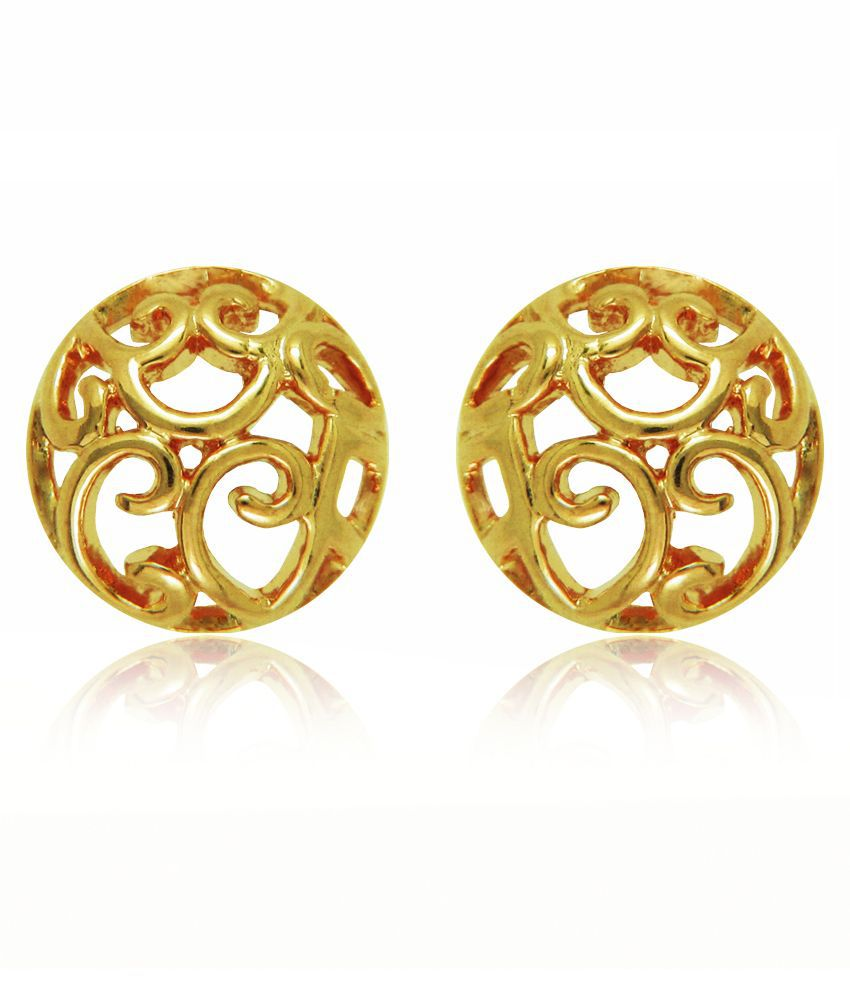 Mahi Golden Brass Stud Earrings