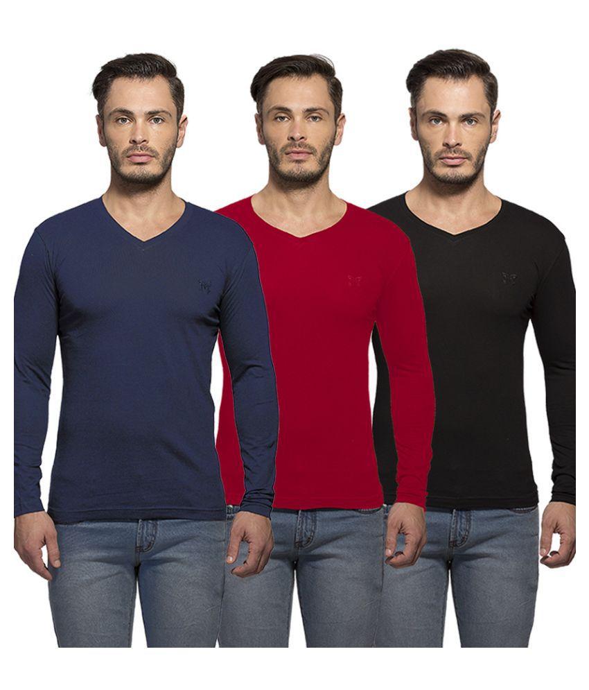 Maniac Multi V-Neck T Shirt Pack of 3