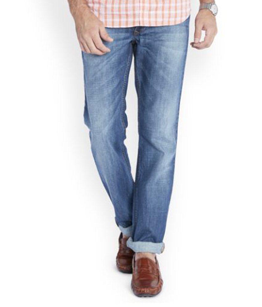 Parx Blue Regular Fit Washed Jeans