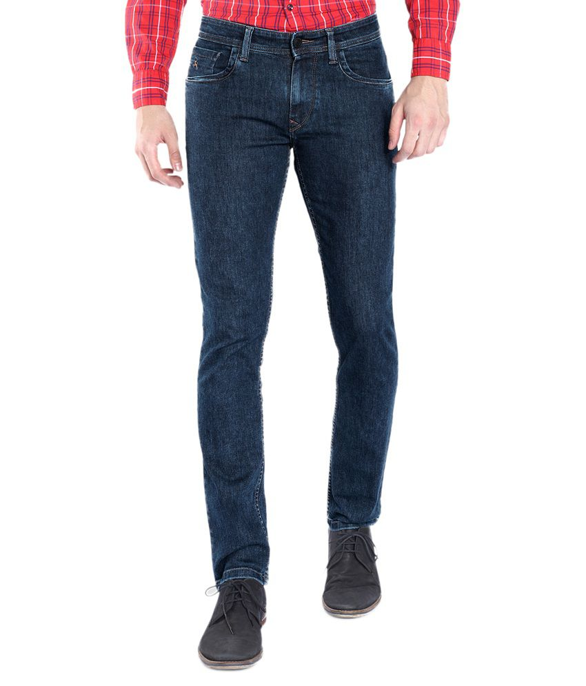 Parx Blue Slim Fit Solid Jeans