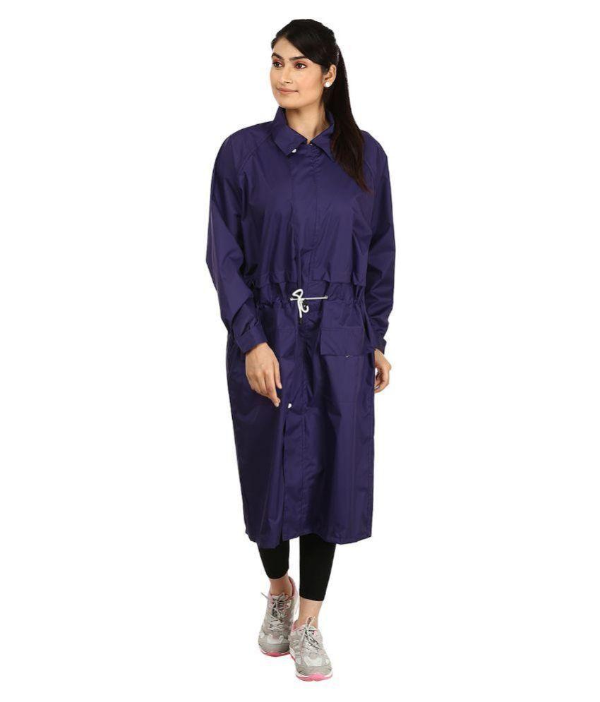Rainfun Navy Waterproof Long Raincoat